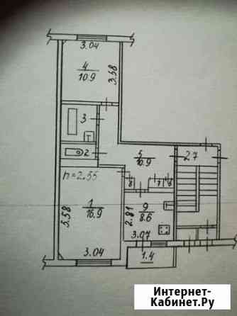 2-комнатная квартира, 53.8 м², 1/5 эт. Псков