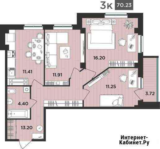 3-комнатная квартира, 70.2 м², 4/12 эт. Архангельск