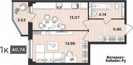 1-комнатная квартира, 40.7 м², 3/12 эт. Архангельск