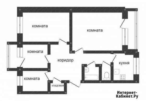 4-комнатная квартира, 78.6 м², 3/5 эт. Семибратово