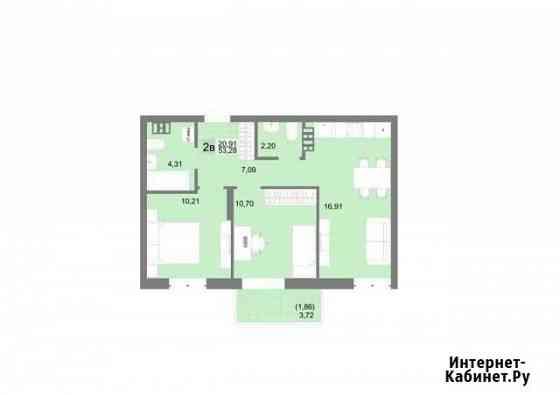 2-комнатная квартира, 53.3 м², 13/20 эт. Екатеринбург