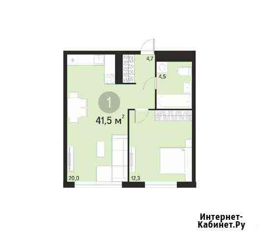 1-комнатная квартира, 41.4 м², 9/17 эт. Тюмень