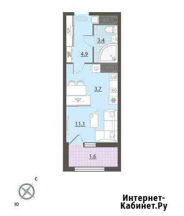 1-комнатная квартира, 24.3 м², 21/32 эт. Екатеринбург