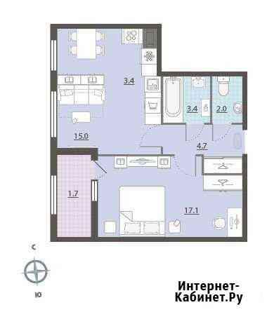 2-комнатная квартира, 47.7 м², 21/32 эт. Екатеринбург