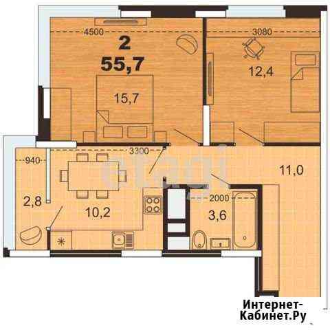 2-комнатная квартира, 55.7 м², 12/26 эт. Рязань