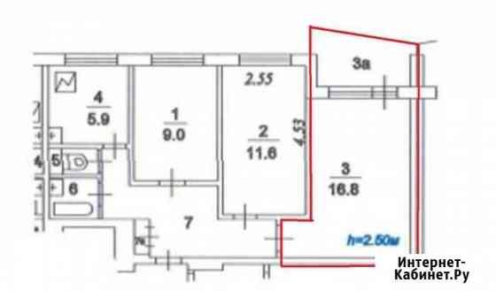 Комната 16.8 м² в 3-ком. кв., 7/9 эт. Москва
