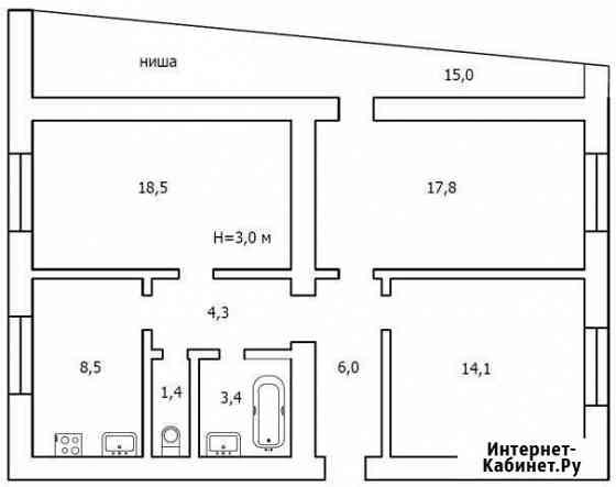3-комнатная квартира, 74 м², 1/4 эт. Нальчик