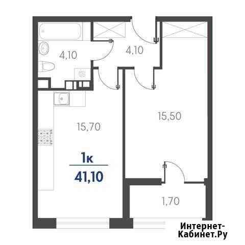 1-комнатная квартира, 41.1 м², 5/19 эт. Новороссийск