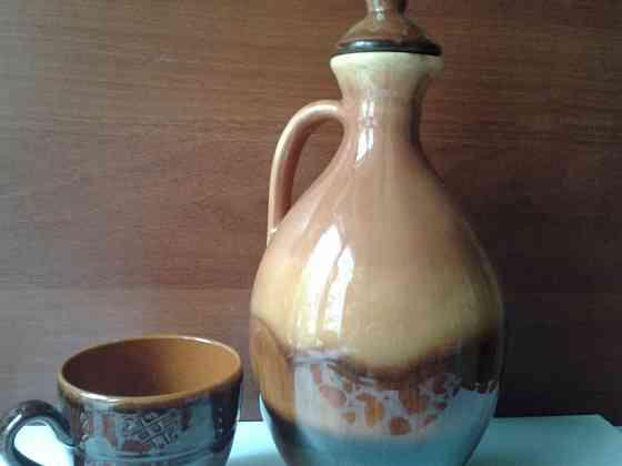 Большой керамический кувшин и чашка Санкт-Петербург