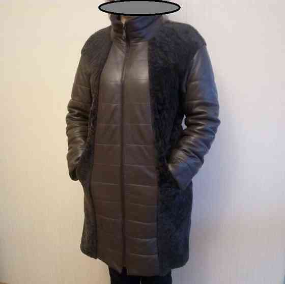 Женское, зимнее, кожаное пальто с натуральным мехом ягненка Дмитров